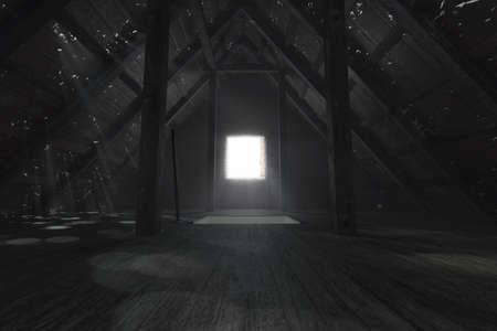 3d rendering of darken empty attic with light rays through holes in the roof Foto de archivo - 120901112