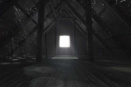 Rendering 3D di un attico vuoto scuro con raggi di luce attraverso i fori nel tetto