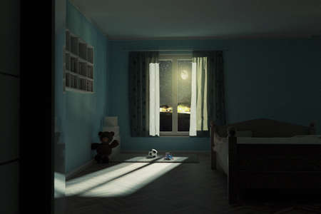 3d rendering of children's room at night with shining bright moon