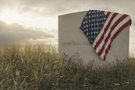 Representación 3D de cerrar la bandera americana en la tumba en el tranquilo prado de flores para recordar el día de los caídos