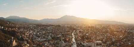 panoramic view of old and cultural city of Prizren, Kosovo in the evening sunshine