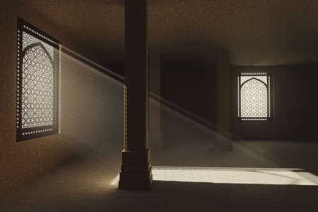 3d rendering of ancient room with jali window shatters and light beams.