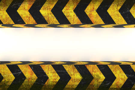 3d rendering of warning hazard grunge pattern in yellow and black color covered by moss
