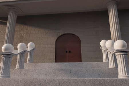3D-Rendering des Regierungsgebäudes mit niedrigem Blickwinkel vom Treppenhaus