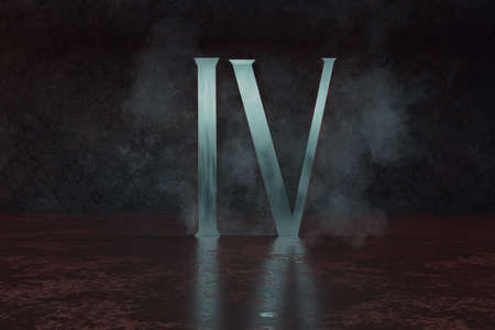 3d rendering of silver Roman numeral number four IV on grunge floor