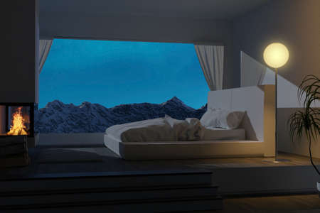 3d rendering of white bedroom at night with fireplace and panoramic view to the mountain Фото со стока
