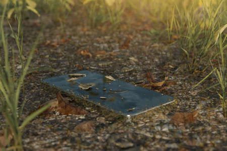 3d rendering of discarded moss-covered smartphone laying at meadow field Stock fotó