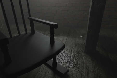3d rendering of rocking chair at dark attic with wet wooden floor