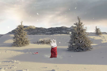 Santa Claus stretching out his snow covered hand to signal help because of snow avalanche . Danger extreme concept