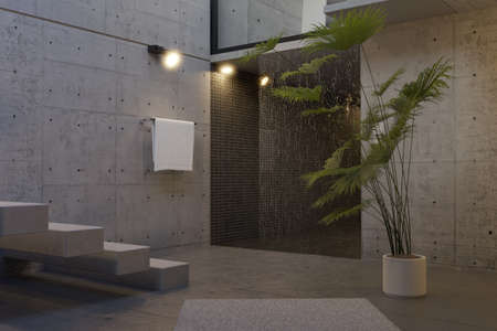 3d rendering of modern interior of concrete cubic house with black tiles shower tray