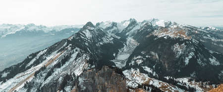 panoramic view to the massif of Alpstein in the winter season