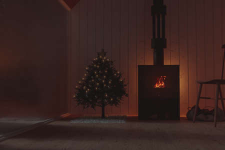3d rendering of wooden chalet with cosy fireplace next to the christmas tree and frozen window