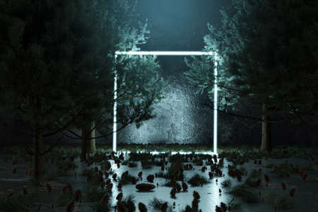 3d rendering of blue lighten square shape with light beam surrounded by pine trees Reklamní fotografie