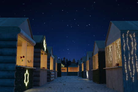 3d rendering of christmas market of different wooden huts at starry night