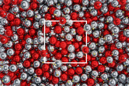 3d rendering of white square neon light over red and silver christmas balls. Flat lay of minimal festive style concept Reklamní fotografie