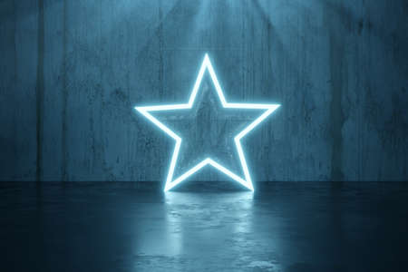 3d rendering of blue lighten star shape with light beam in front of grunge wall background with reflection floor