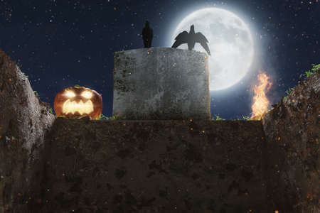 3d rendering of open tomb in front of old gravestone and full moon light. Concept Halloween