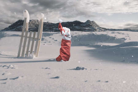Santa Claus next to the buried wooden sled stretching out his snow covered hand to signal help because of snow avalanche . Danger extreme concept