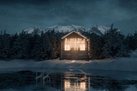 3d rendering of illuminated wooden log cabin behind frozen lake