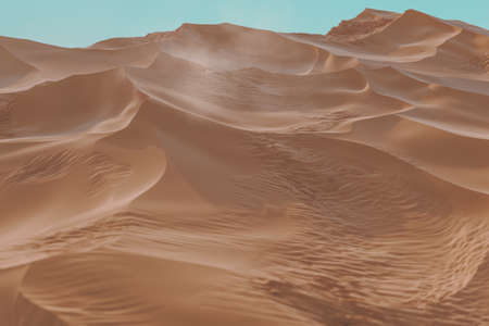3d rendering of wavy sand dunes with dust