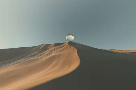 3d rendering of crystal ball laying on sand dune
