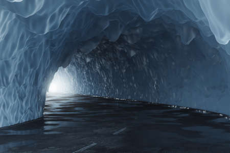 3d rendering of icy tunnel with light at the end of tunnel
