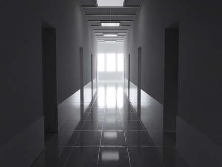 3d rendering of dark corridor with bright light at the end