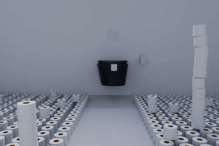 3d rendering of toilet room full with toilet paper. Concept panic buying Archivio Fotografico