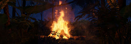 3d rendering of big bonfire with sparks in the jungle forest at the night Archivio Fotografico