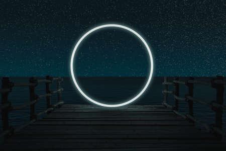 3d rendering of lighten circle on wooden bridge in front of ocean and starry sky