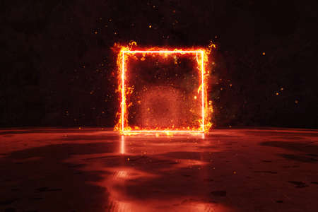 3d rendering of red lighten square shape in fire against grunge wall background  Archivio Fotografico