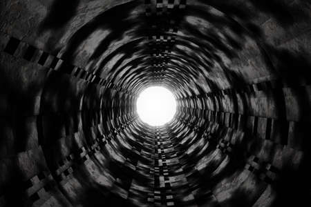 3d rendering of wet dark tunnel with light at the end of tunnel Archivio Fotografico