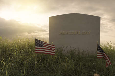 3d rendering of small American flags standing in front of tomb stone at the peaceful flower meadow to remember the memorial day