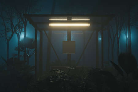 3d rendering of illuminated bus stop surrounded by tropical plants at jungle in the night