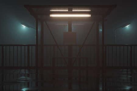 3d rendering of illuminated bus stop at night