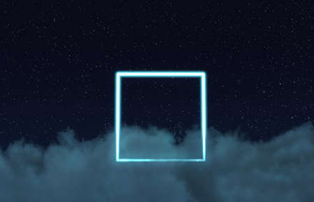 3d rendering of neon square above fluffy clouds and in front of starry sky