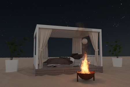 3d rendering of wooden patio with comfortable bed at sand beach in front of starry night Archivio Fotografico