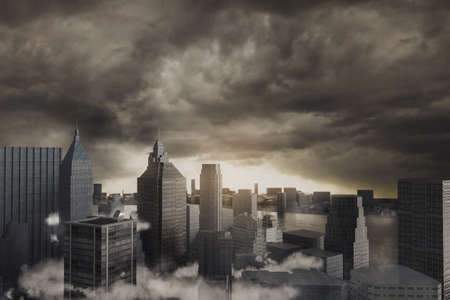 3d rendering of cityscape with high buildings in front of stormy clouds Stock fotó - 151141899