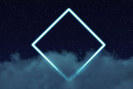 3d rendering of neon rotated square above fluffy clouds in front of starry sky