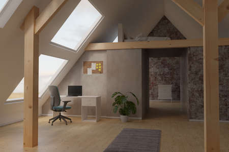 3d rendering of bright attic home office interior with roof beams and laminate floor
