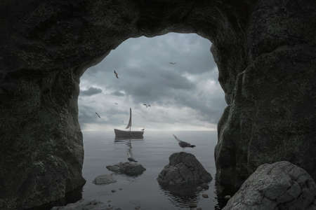 3d rendering of cliff cave with the view to dramatic sky and abandoned wooden boat Archivio Fotografico