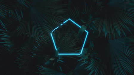 3d rendering of blue pentagon neon light with tropical leaves. Flat lay of minimal nature style concept