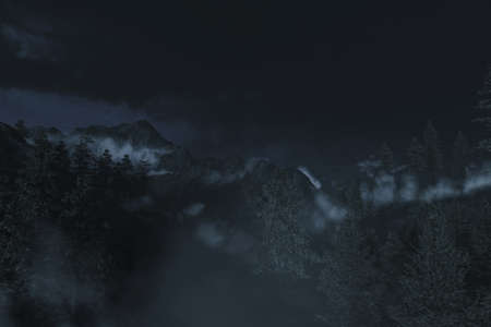 3d rendering of foogy mountain surrounded by pine trees in the dark night Archivio Fotografico