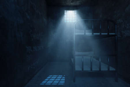 3d rendering of grunge prison cell with bunk bed and light ray of window at night Archivio Fotografico