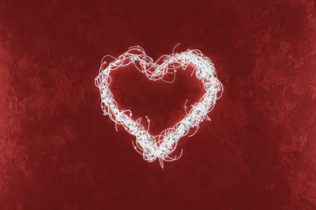 3d rendering of illuminated heart shape embraced with wire on red background