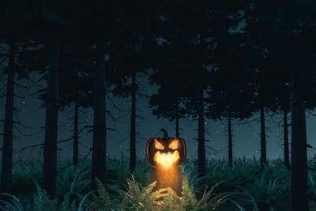 3d rendering of shiny halloween Jack-o-Lantern pumpkin standing on a tree trunk at darken forest