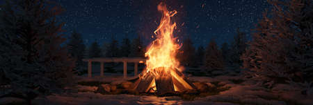 3d rendering of big bonfire with sparks and particles in front of snowy pine trees and starry sky
