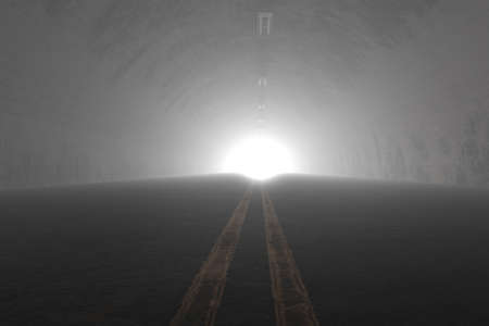 3d rendering of darken tunnel with light at the end of tunnel