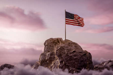 3d rendering of waving American flag on rocky landscape and white clouds