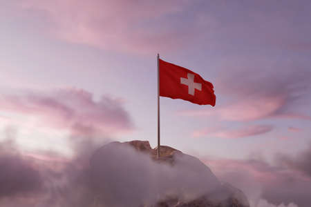 3d rendering of waving Swiss flag on rocky landscape and white clouds